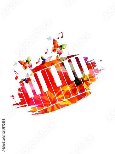 Colorful piano keyboard with music notes isolated vector illustration design. Music background. Music instrument poster with music notes, festival poster, live concert events, party flyer © abstract