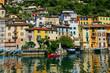 Scenic view of Gandria village near Lugano from the lake, Switzerland
