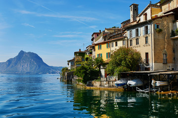 Scenic view of Gandria village near Lugano from the lake, Switzerland