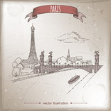 Vintage travel illustration with Eiffel tower and Pont Alexandre bridge in Paris, France. Hand drawn sketch.