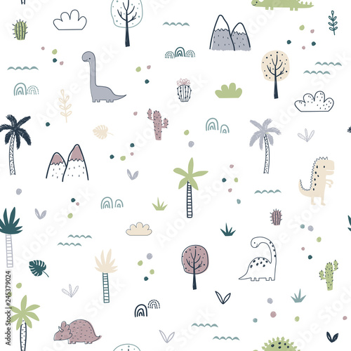 fototapeta na ścianę Cartoon seamless pattern with dinosaurs