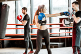 Young woman training to box with personal coach on the boxing ring at the gym - 245389894