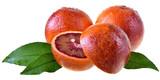 Blood orange slice with leaf isolated
