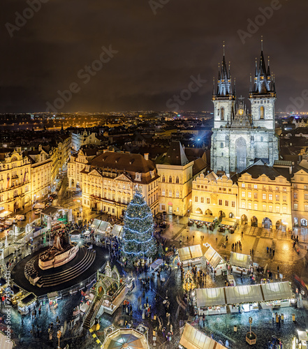 Tyn Church on Old Town Square (Cathedral of Our Lady before Tyn) at night. Prague, Czech Republic