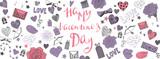 Valentines day doodles background - 245407216