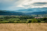 Hills view in Poland, Bieszczady with dramatic sky, clouds