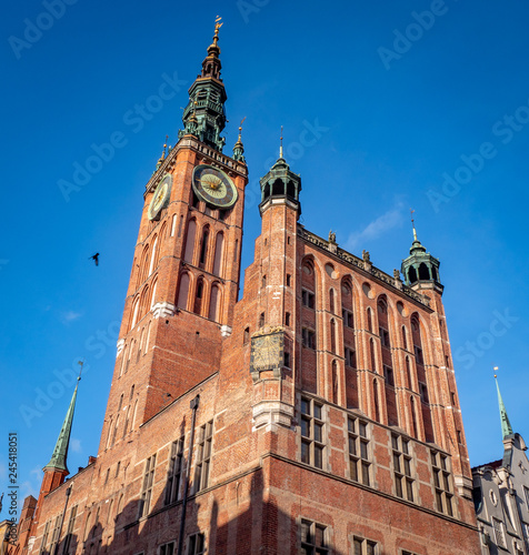Gdansk, Poland, old tow City Hall and clock tower