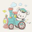 Vector cartoon illustration of a cute baby bear, driving the locomotive.