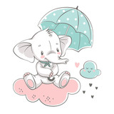Vector illustration of a cute baby elephant, sitting on the cloud with green umbrella. - 245428407