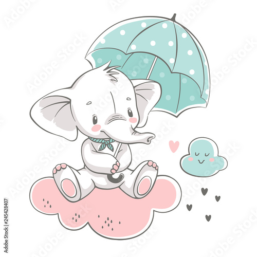 fototapeta na ścianę Vector illustration of a cute baby elephant, sitting on the cloud with green umbrella.