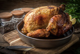 Roasted chicken on plate. - 245428648