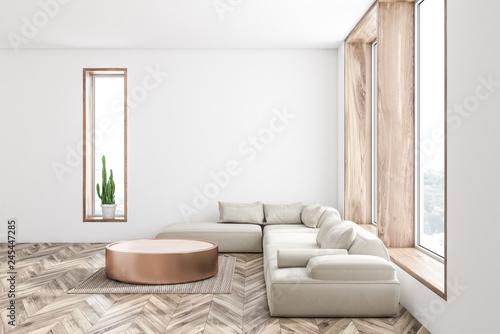Side view of white living room, white sofa - 245447285