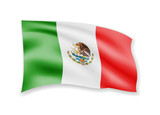 Waving Mexico flag on white. Flag in the wind.