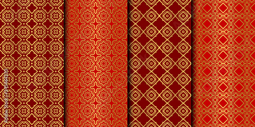 Set of Seamless Pattern With Abstract Geometric Style. Repeating Sample Figure And Line. Vector illustration. red gold color.