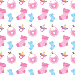 baby shower set icons pattern