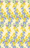 Composition of yellow irises and clematis.Seamless background pattern version 3