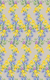 Composition of yellow irises and clematis.Seamless background pattern version 5