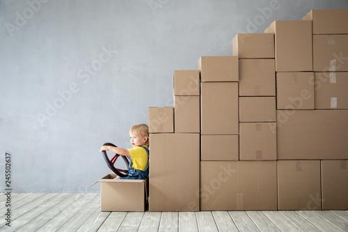 Leinwandbild Motiv New Home Moving Day House Concept