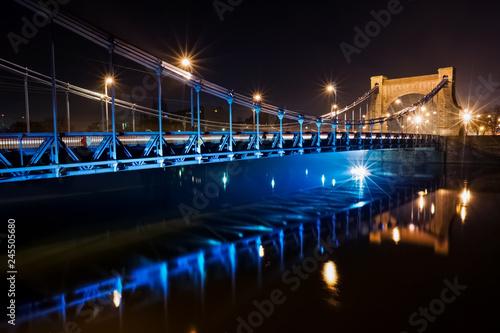fototapeta na ścianę Night view of the Grunwaldzki Bridge in Wroclaw in Poland