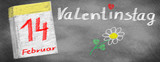 Valentine's Day -14. February, calendar and flower, drawn on slate blackboard