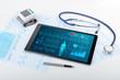 Leinwandbild Motiv Live medical screening with medical application on tablet