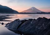 Mount fuji rocks and water at lake shoji