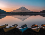 Mount Fuji lakeshore with boats