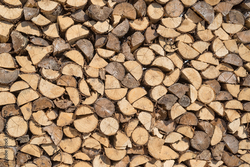 Sorted wood log background texture. Stack of arranged brown wood log background - 245532247