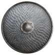 Leinwandbild Motiv Metal round shield covered by scales isolated 3d illustration