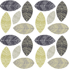 Decor leaf hand drawn doodle pattern background