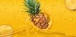 Drops. Pineapple juice. 3d realistic vector