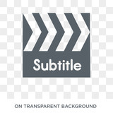subtitle icon. Trendy flat vector subtitle icon on transparent background from Cinema collection. High quality filled subtitle symbol use for web and mobile