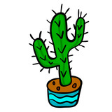 Cartoon doodle cactus in the pot isolated on white background. Vector illustration.  - 245573684
