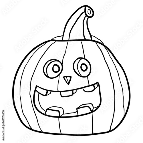 Cartoon Doodle Linear Pumpkin For Halloween Isolated On White