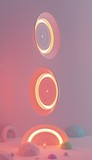 Circles of red light floating in the air. 3D render