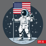 Astronaut with american flag stands on moon. Vector illustration. - 245581010