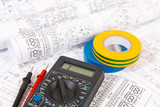 insulating tape and digital multimeter and electrical engineering drawings - 245587680