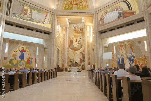 Krakow, Poland, August 15, 2018: Interior of the Sanctuary in Lagiewniki. The center of Pope John Paul II.