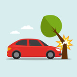 Car crashed into the tree icon