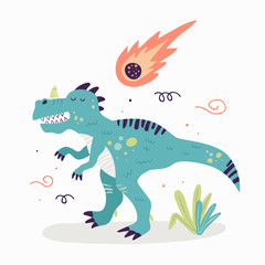 The cute dinosaur with the comet. Children's book illustration. Great idea for kids posters and calendars. Vector illustration.