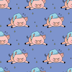 Seamless pattern with funny sleep pig ,adorable animal texture background © naum