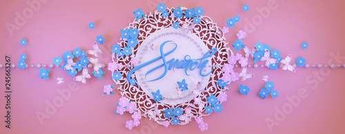 Congratulations on the international women's day on March 8. Panoramic floral background with forget-me-nots and butterflies. 3D illustration - 245663267