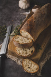 Homemade baguette with herbs