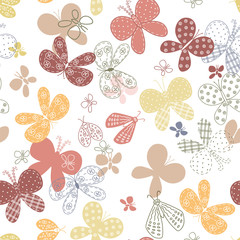 Seamless pattern with cute hand drawn butterflies.