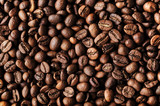Roasted coffee beans, macro closeup
