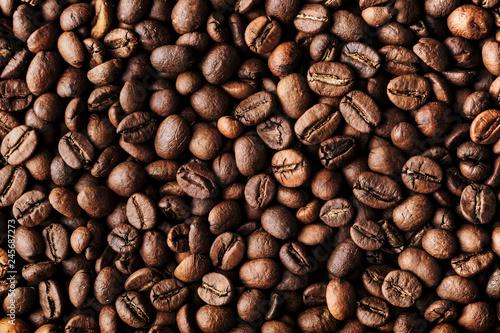 Roasted coffee beans, macro closeup