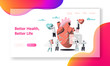 Better Health, Heart Life Test Landing Page. Cardiologist write Case History in Personal Card. Female bring Medicine Container. Male with Stethoscope listen Heartbeat. Flat Cartoon Vector Illustration