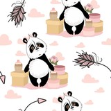 Seamless pattern with Valentine's Day. Cute Panda with romantic elements. Vector illustration