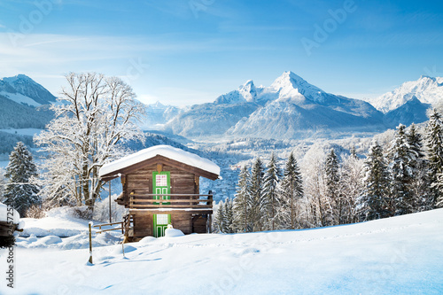 Traditional mountain hut in the Alps in winter © JFL Photography