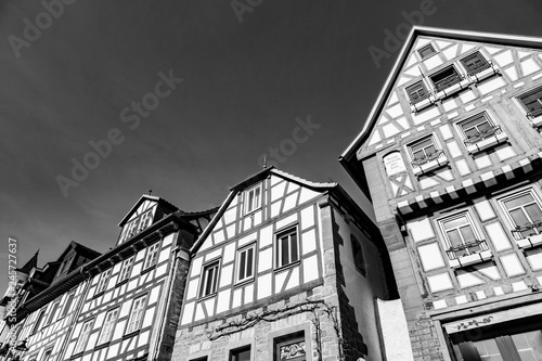 fototapeta na ścianę facade of old historic houses from public area in Gelnhausen